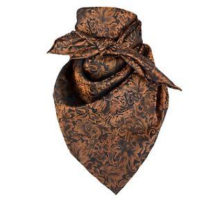 "Wild Rag Wyoming Traders Baroque Jacquard 100% Silk Scarf Cowboy Bandana 34"""