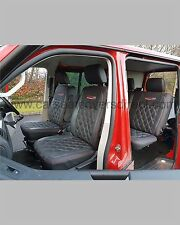 Volkwagen VW Transporter T5 Crew Cab Van Seat Covers - Charcoal Diamond Quilted