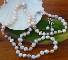 FRESHWATER BAROQUE PEARLS SET. Necklace 51 cm,Bracelet 23cm, Earrings 925 Silver
