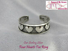 Silver - New - Made in the Usa! Four Hearts Toe Ring in Solid 925 Sterling