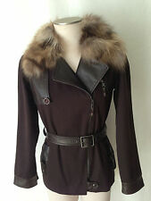 HENRY BEGUELIN Jacket with Leather Trim, Wool Lining and Removable Fur Collar.42