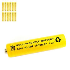 12 pcs AAA 3A 1800mAh 1.2V Ni-MH rechargeable battery Solar Light MP3 RC Yellow