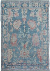 All-Over Floral VEGETABLE DYE Oushak Turkish BLUE Area Rug Hand-Knotted 6x9 Wool