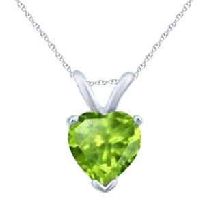 "Heart Cut 14K White Gold Peridot Pendant 18"" Chain-August Birthstone"