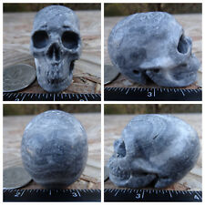 """2.02"""" Chinese Crazy Lace Skull Carved Stone 3.1oz 88g Crystal Healing Realistic"""