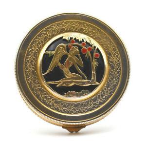 Powder Compact Metal Golden Decoration Cut Surepaisseur Art Deco