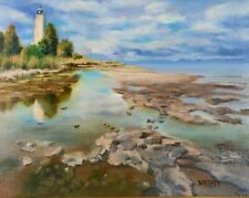 Lighthouse Painting Rocky Shore Door County Lake Michigan Original Oil Whitney
