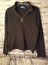 Fresh Produce women's sweat shirt XS Black 1/4 Zip Long sleeve 100% Cotton
