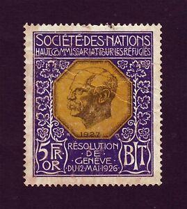 Armenian Refugees 5 Francs in Gold Resolution de Geneve 1926 Nansen Nations Leag