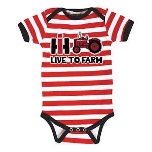 "Case IH International Harvester Red Striped Infant Creeper ""Live To Farm"""