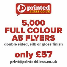 5000 A5 FLYERS DOUBLE SIDED PRINTED FULL COLOUR 135GSM 130 A5 A6 LEAFLET FLIER