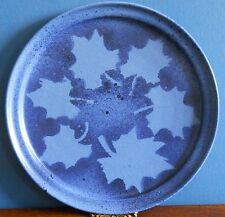 A blue studio stoneware platter with leaf pattern and  LVF stamp