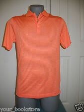 New Nike Golf Tour Performance Orange Striped Collared Polo Dri-Fit Shirt Small