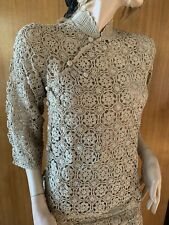 Lim'S Vintage All Hand Crochet Mandarin Collar 3/4 sleeve Top Color Taupe, S