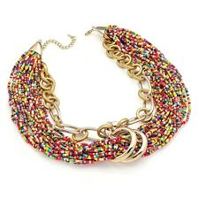 SHINY AND MATT GOLD COLOUR  MULTI    SEED  BEAD  CHAIN NECKLACE