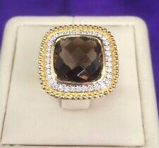 Gold  Rope Motif Smoky Quartz Cushion cut  & Diamonds Ring in 14k Yellow Gold
