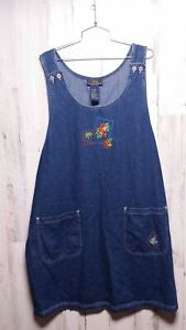 90s Vintage Overall Jean Dress Women's Island Embroidered Fish 2X