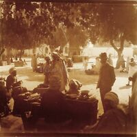MAGHREB Maroc Algérie Tunisie Marché ca 1910, Photo Stereo Vintage Plaque VR5L5