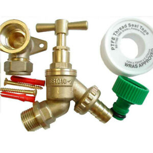 Outside Tap Kit With Brass Wall Plate Elbow / Backplate & Garden Hose Fitting