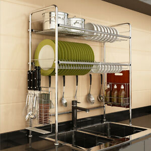Home Dish Drying Rack Over Sink Space Saver Utensils Holder Storage w/ 6 Hooks