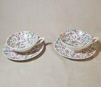 Chintz China Unglazed Porcelain Bisque Footed Tea Cups & Saucers, Antique Set