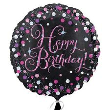 "18"" Round HAPPY BIRTHDAY Pink Celebration Foil Helium BALLOON Party Decoration"