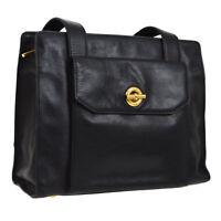 Authentic CELINE Logos Shoulder Bag Black Gold Leather Vintage Italy AK27697