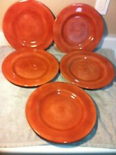 (5)  TABLETOPS UNLIMITED SALUTE  DINNER PLATES--rust / clay / ---FREE SHIP--VGC