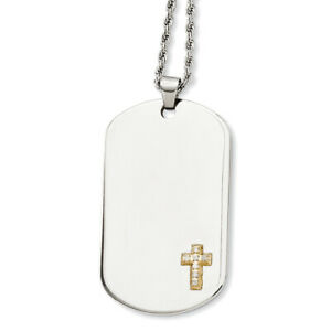 """Chisel Stainless Steel 14k w/Diamonds Cross Dog Tag Necklace 24"""""""