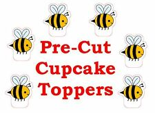 x24 CUTE BUMBLE BEE edible wafer paper stand up cup cake toppers PRE-CUT