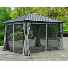 ALEKO GZMC10X12-AP 12x10ft Aluminum Frame and Steel Hardtop Gazebo with Mosquito Net and Curtains - Black