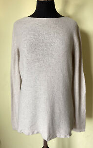 Merino Wool Cashmere Knitted Jumper XL Large 16 Stone Beige Boat Neck Made Italy