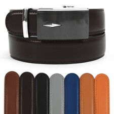 Men's Leather Ratchet Belt with Lone Diamond Automatic Buckle (MGLBB35)