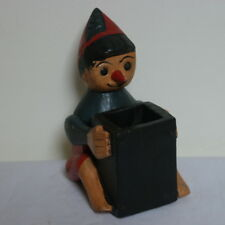 "Beautiful Hand Carved Pinocchio Pen Holder In Wood  6.5"" x 4.5""  Inches Wide"