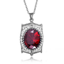 925 Sterling Silver Red Stone Natural Pearl Necklace Pendant Garnet Women Band