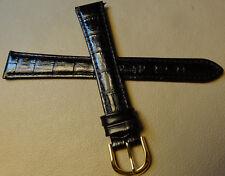 New 18mm LONG Mens Padded Leather Black Bamboo Crocodile Grain Watch Band 12.99