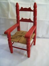 "Straight Back Wood Dolls Arm Chair with Burlap Rope Woven Seat 12"" Tall"