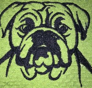 Embroidered  Lime Green Kitchen Bar Hand Towel - Black ENGLISH BULL DOG BS0772