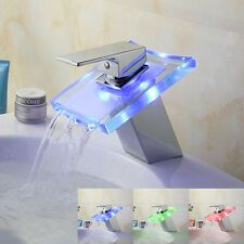 3 LED Color Changing Glass Waterfall Spout Bathroom Basin Vanity Mixer Faucet