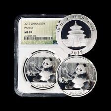 2017 China 10 Yuan (Silver) - NGC MS 69 - Near Perfect Sitting Panda