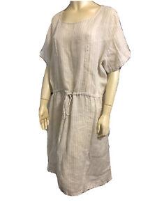 NEW without tags Brave & True L Beige & White Narrow Stripe Shift Dress