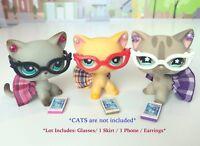 Littlest Pet Shop Clothes LPS Accessories Random 4PC NERD Lot *CAT NOT INCLUDED*