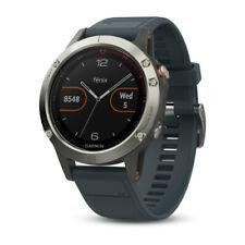 Garmin Fenix 5 Multisport GPS Smartwatch, Silver With Granite Blue Band