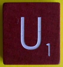 Single Maroon Scrabble Wood Letter U Tile One Only Replacement Game Parts Pieces