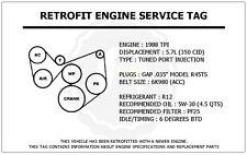 1988 TPI 5.7L Camaro Z28 Retrofit Engine Service Tag Belt Routing Diagram Decal
