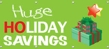 HUGE HOLIDAY SAVINGS BANNER 96in X 36in RETAIL STORE SALE SIGNS Multi Color