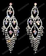 "BIG CLIP ON 3.75"" long RHINESTONE AB CRYSTAL EARRINGS"