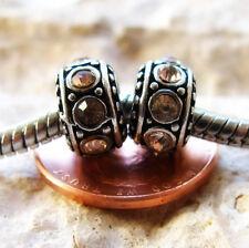 2PCs Pale Gold Citrine Beads For European Charm Bracelets - November Birthstones