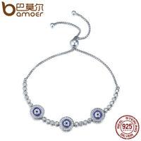 Bamoer S925 Sterling Silver Bracelet with Blue CZ eyes For Women Fashion Jewelry