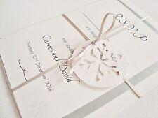Handmade Personalised Ribbon Tied Snowflake Winter Wedding Invitation Sample